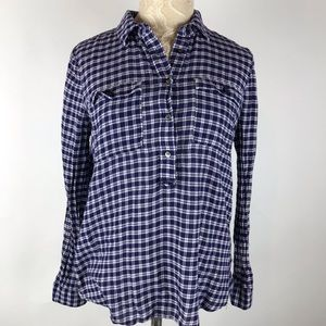 Madewell Plaid Button Shirt Blue checkered